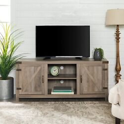 Farmhouse Barn Door Tv Stand For Tvs Up To 65, Grey Wash Durable High-grade Mdf
