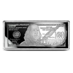 Discounted 2021 100 Franklin Currency Note 4oz Unc Silver Bar Some Flaws