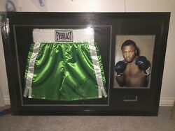 Joe Frazier Signed Boxing Shorts In Collectors Frame