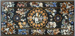 4and039x2and039 Marble Dining Table Top Multi Stone Floral And Birds Inlay Living Decor B053