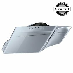 Brilliant Silver Stretched Extended Saddlebag Side Covers Pinstripes 14+ Harley