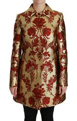 Dolce And Gabbana Jacket Coat Red Gold Floral Brocade Cape It36 / Us2/xs Rrp 4400