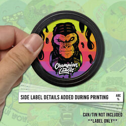 King Kong Gg4 Press In Style Tuna Can Lid And Side Label Sticker Tin 3.5