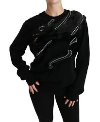 Dolce And Gabbana Sweater Wool Black Panther Fur Pullover It48/us14 /xxl Rrp 2800