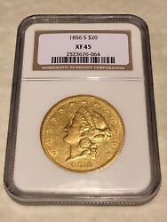 1856-s Xf45 Ngc Liberty Double Eagle Type 1 20 Gold Coin Pq Very Nice Not Pcgs