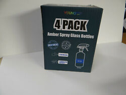 4 Pack 16oz Amber Dark Brown Glass Spray Bottles With Sprayers And Caps