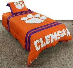 College Covers Clemson Tigers Comforter Set, Twin, Team Color