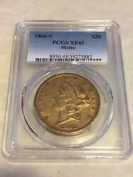 1866-s Xf45 Pcgs Liberty Double Eagle 20 Gold Coin Eyeclean Nicely Struck