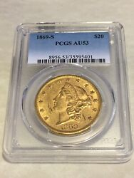 1869-s Au53 Pcgs Liberty Double Eagle 20 Gold Coin Nicely Struck Sharp Details