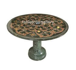 48 Marble Dining Table Top Precious Marquetry Inlay With 18 Marble Stand B074