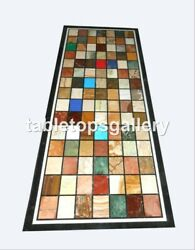 28x56 Marble Dining Table Top Multi Stone Cubes Inlay Mosaic Decorative B076a