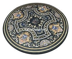 4and039 Black Marble Top Dining Table Pietra Dura Mosaic Inlay Living Room Decor B102