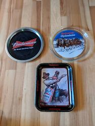 Lot Of 3 Budweiser Beer Trays Signs Plate Clydesdale Bar Displays