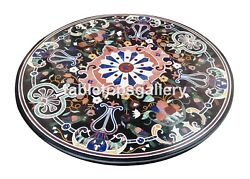 4and039x4and039 Round Marble Dining Table Top Pietra Dura Mosaic Inlay Hallway Decor B123b