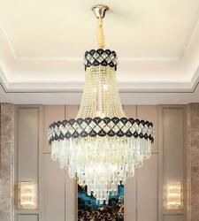 New Duplex Led Crystal Large Chandelier Villa Living Room Simple Hall Stair Lamp