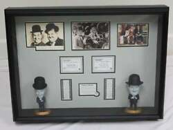 Laurel And Hardy - Vintage Signed Photograph - Framed With Figurines Psa Loa