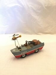 Tin Army Amphibious Litho With Helicopter Friction Kanto Toys Japan 1950s Marx