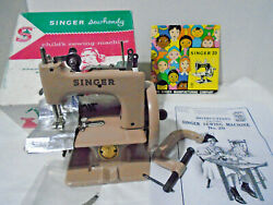 Vintage Childs Singer Sewing Machine Tan/british In Box W/book Needles Tools
