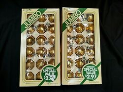 Lot Of 36 Vintage Pyramid Brand Gold Glass Ball Christmas Ornaments Shabby Chic