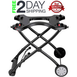 Portable Bbq Cart For Grilling Grill Wheels Handle Stand Outdoor Foldable Black
