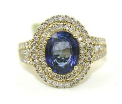 Natural Oval Blue Sapphire And Diamond Halo Solitaire Ring 14k Yellow Gold 3.41ct