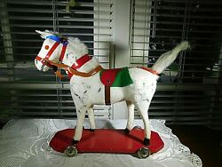 Vintage 1950s White Pull Toy Hobby Horse Western Germany 8 Long