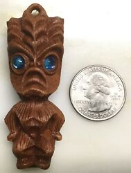 Rare Oop Coco Joes Tiki Charm Pendant Brown Blue Eyes Nos From Coco Joes Factory