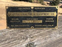Vintage Capitol Tractor And Equipment Co. Brass Sign Tag Sacramento Calif. E5