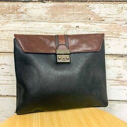 Fossil Black amp; Tan Leather iPad or Reader Pouch or Clutch Bag Never Used $26.00