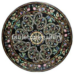 48 Black Marble Dining Table Top Multi Stone Floral Inlay Art Garden Decor B153