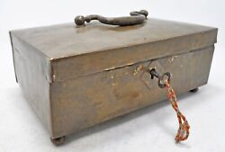 Antique Brass Shopkeeper's Cash Money Box Original Old Hand Crafted With Lock