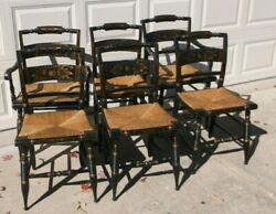 Set Of 6 L. Hitchcock Black Painted Stenciled Rush Seat Chairs
