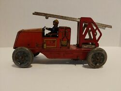 C-r Wind Up Tin Lithographed Fire Rescue Truck