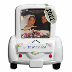 2020 Just Married Wedding Car Picture Frame Christmas Ornament To Personalize