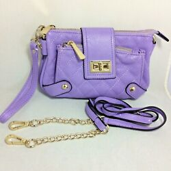 REDUCED LAVENDER CHARMING CHARLIE CROSS BODY WRISTLET LEATHER PURSE $19.95