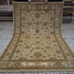 Yilong 6.4and039x9.6and039 Medium Hand Knotted Wool Carpet Beige Parlor Handcraft Rug 1432
