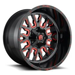 Set Of Four Fuel Wheels D612 Stroke 22x12 5x139.7/150 -44 Gloss Milled Red