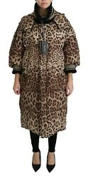 Dolce And Gabbana Jacket Brown Leopard Down Hooded Coat It42 / Us8 / L Rrp 3400