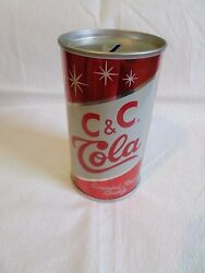 Vintage Rare Style Large Snowflake Candc Cola Flat Top Soda Pop Can Coin Bank