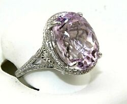 Natural Oval Pink Kunzite And Diamond Solitaire Ladyand039s Ring 14k White Gold 13.68ct