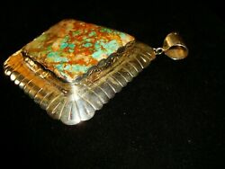 Navajo Handcrafted Custom Pendant Natural Royston Turquoise And Sterling Silver