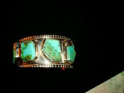 Custom One Of A Kind Facetted Royston Turquoise Cuff Bracelet Signed Free Ship