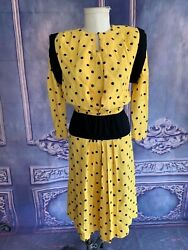 Vntg 80s Yellow Black Polka Dot Fit And Flare Party Dress Xs/small 1940s Retro Fab