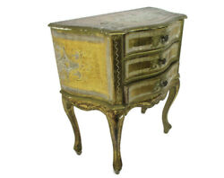 Florentine Nightstand End Table Hall Cabinet Chest Of Drawers Gold Vintage Italy