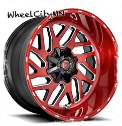 20 X10 Candy Red Milled Fuel D691 Triton Wheels Fits Chevy Gmc 2500 3500 8x180