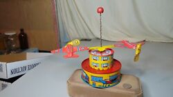 Vintage Tin Litho Ohio Art Co Windup Airport Toy One Propeller Is Broke Off