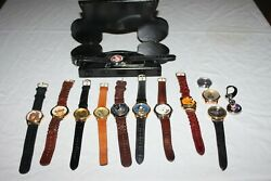 Vintage Lot Of 13 Disney Watches Lorus Mickey Mouse Gold Coin, Club, Goofy Read