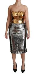 Dolce And Gabbana Dress Gold Silver Sequined Bodycon Midi It42 / Us8 / M Rrp 4500
