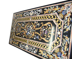 6and039x3and039 Marble Dining Side Table Top Inlay Gem Mosaic Pietradura Inlay Deco H2065a