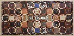 6and039x3and039 Marble Center Dining Table Top Hand-carved Inlay Stone Garden Decor H4001b